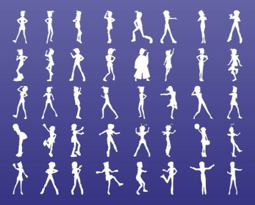 Free Fashion Girls Vector Silhouettes