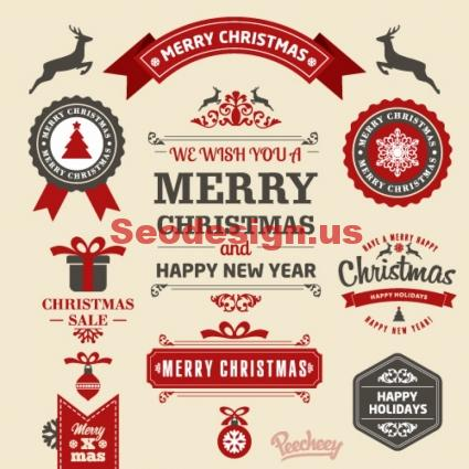 Free Retro Christmas Vector Stickers