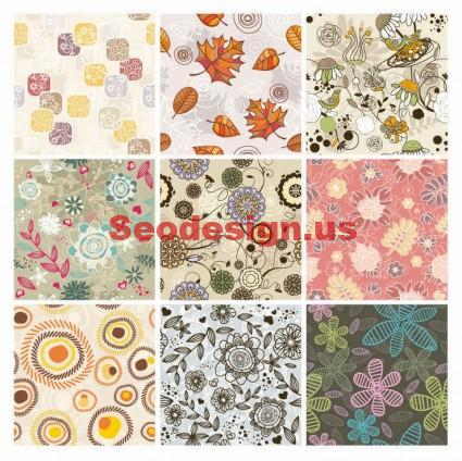 9 Free Vector Seamless Floral Backgrounds