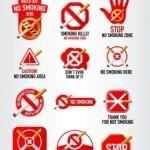 12 Red Stop Smoking Icon Set