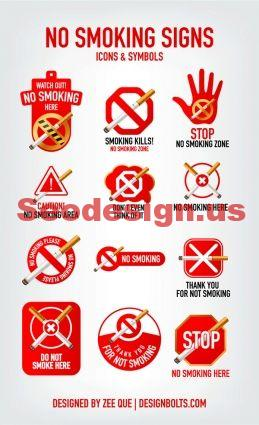 12 Red Stop Smoking Icon Set