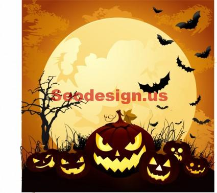 Vector Pumpkins Halloween Moonlight Graphics
