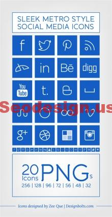 Free Blue Social Icons Set