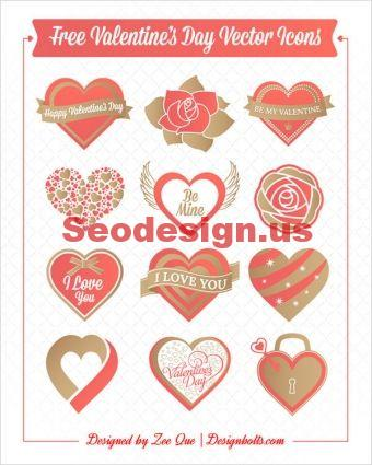 12 Free Vector Red Hearts Icons