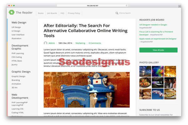 The Reader Blog WordPress Theme