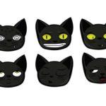 6 Cute Black Cat Vector Faces