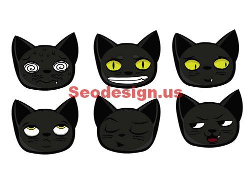 Cute Black Cat Vector Faces