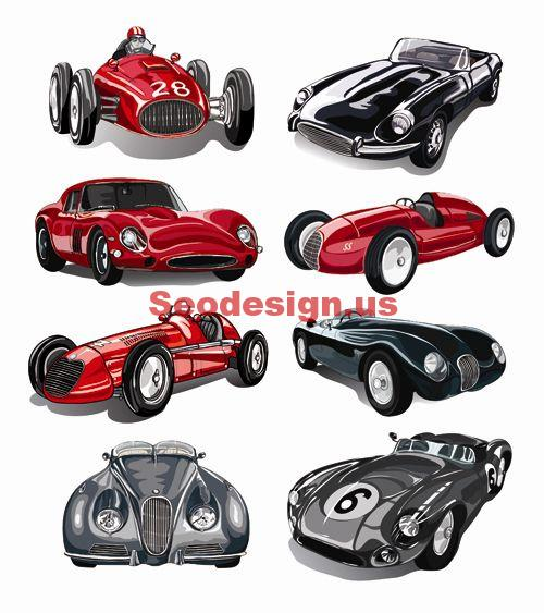 Retro Classic Car Vector Graphics