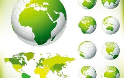 Green Globe Earth Vector Maps