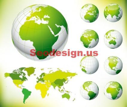 Green Globe Earth Vector Maps