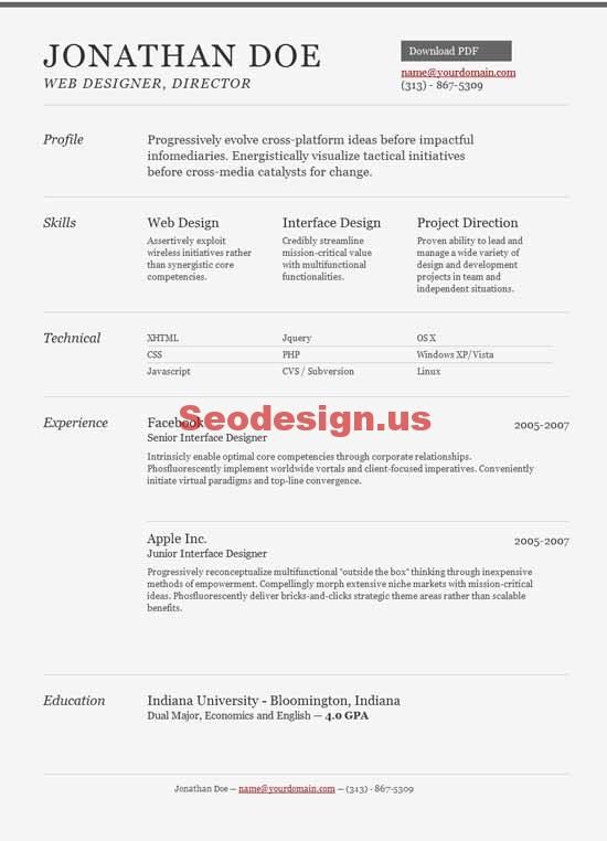 10 html portfolio resume cv templates. Black Bedroom Furniture Sets. Home Design Ideas