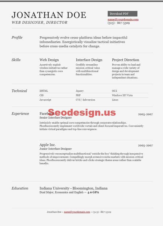 10  html portfolio resume cv templates